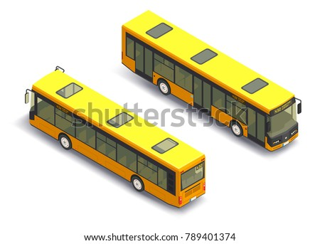 3D isometric bus with front and back view. Isolated yellow buses.