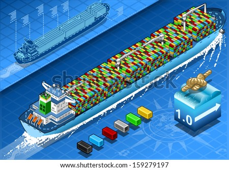 3d Isometric Cargo Ship Container shipping Freight Shipping in Navigation. Delivery Freight Container Isometric shipping Vector 3d infographics illustration.
