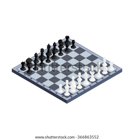 3d isometric chess board with