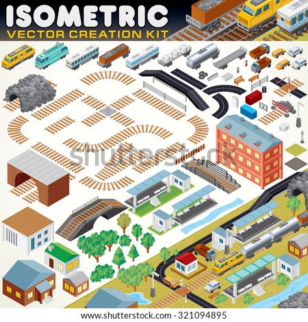 Stock Photo 3D Isometric City Map Kit. Vector Set Include: Railroad Objects, Buildings, Plants, Cars, Road Paths and other Urban Items and Elements. Create Your Own Railroad Scheme or Town Map
