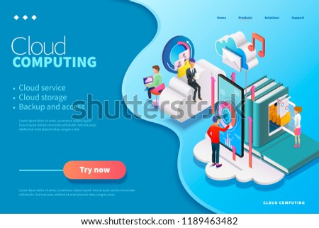 3d isometric cloud computing webpage design, people using could service uploading data