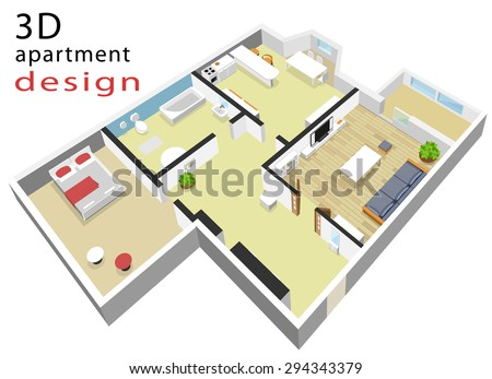 3d isometric colorful floor