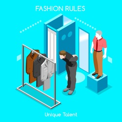 3D Isometric Fashion Clothing Shoes Room. Fashion People Man Business Dressing Store. Isometric Flat Retail Shopping People Shoes Shop. Fashion Infographic Space 3D. Woman Shopping Shoes Vector Image