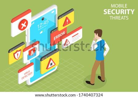 3D Isometric Flat Vector Concept of Mobile Security Threats, Computer Virus, Alert Notification, Cyber Security, Fraud Internet Error. Foto stock ©