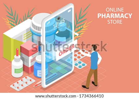 3D Isometric Flat Vector Concept of Online Pharmacy Store, Medicine Ordering Mobile App, Buy Medicaments and Drugs Online.