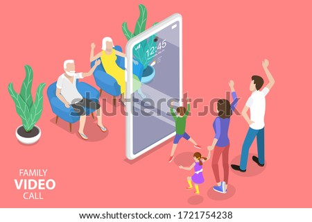 3D Isometric Flat Vector Concept of Online Video Conference Tool, Video Chat Mobile App, Family Call.