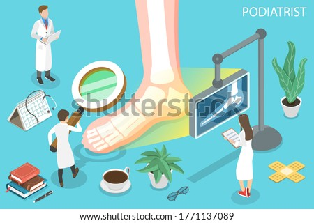 3D Isometric Flat Vector Concept of Podiatrist, Podiatric Physician Doctor, Treatment of Disorders of the Foot, Ankle, and Lower Extremity. Stockfoto ©