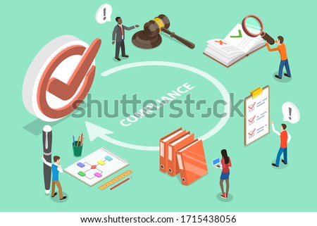 3D Isometric Flat Vector Concept of Regulatory Compliance, Business People Are Discussing Steps to Comply With Relevant Laws, Policies, and Regulations. Stock photo ©