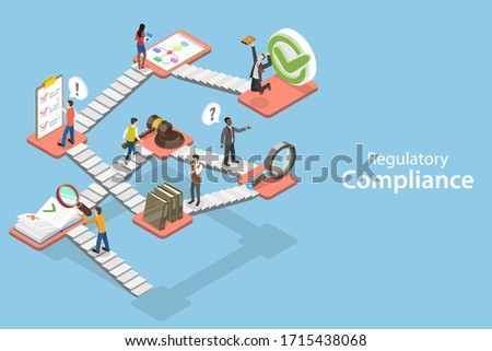 3D Isometric Flat Vector Concept of Regulatory Compliance, Steps That Are Needed to Be Complied With Relevant Laws, Policies and Regulations. Stock photo ©