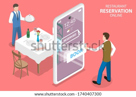3D Isometric Flat Vector Concept of, Restaurant and Cafe Online Food Order App, Table Online Reservation, Mobile Booking. Сток-фото ©