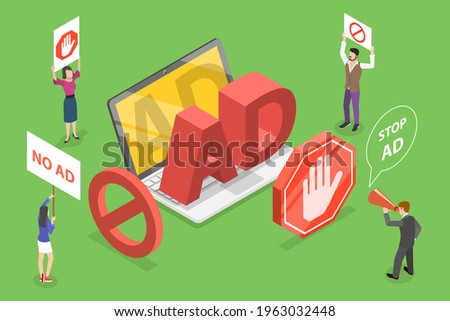 3D Isometric Flat Vector Conceptual Illustration of Ad Blocking. Foto stock ©