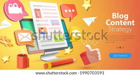 3D Isometric Flat Vector Conceptual Illustration of Blog Content Creating, Effective Content Marketing Strategy for Business Blogging