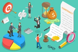 3D Isometric Flat Vector Conceptual Illustration of Checking and Signing Contract, Deal Agreement.