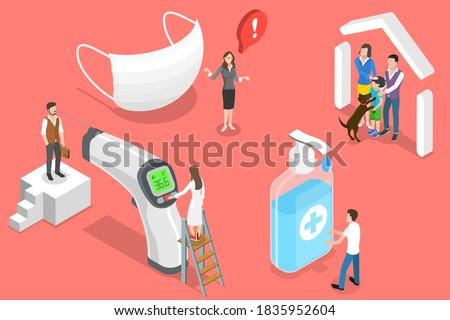 3D Isometric Flat Vector Conceptual Illustration of Covid 19 Prevention Measures, Wear Medical Mask, Wash Hands, Check Temperature, Stay Home.