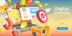 3D Isometric Flat Vector Conceptual Illustration of Digital Marketing.