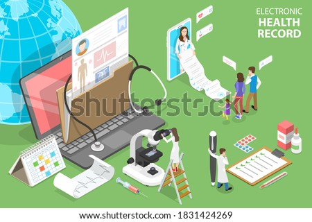 3D Isometric Flat Vector Conceptual Illustration of EHR - Electronic Health Record, Electronically-Stored Patient Health Information.
