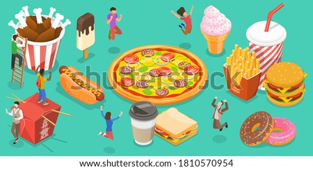 3D Isometric Flat Vector Conceptual Illustration of Fast Food, People Are Rejoicing Next to Food Like Hot Dog, Ice Drink, Burger, Donut, Ice Cream, Pizza, French Fries, Fried Chic Zdjęcia stock ©