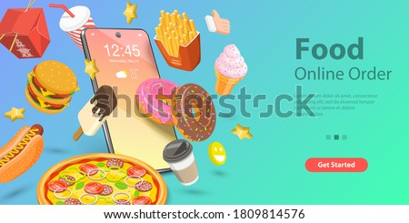3D Isometric Flat Vector Conceptual Illustration of Food Mobile Booking, Restaurant and Cafe Food Online Ordering App, Fast Free Delivery.