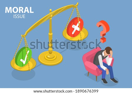 3D Isometric Flat Vector Conceptual Illustration of Moral Issue, Ethical Dilemma, Decision Making. Foto d'archivio ©