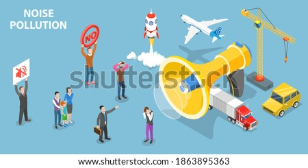 3D Isometric Flat Vector Conceptual Illustration of Noise Pollution, People are Suffering Over Urban Noises.