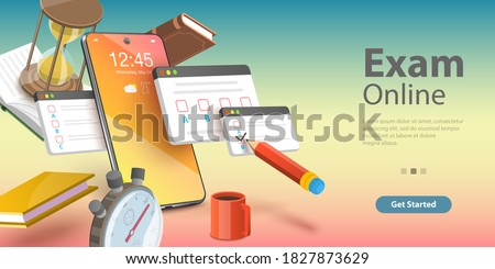 3D Isometric Flat Vector Conceptual Illustration of Online Exam, Internet Quiz or Survey, Distant Education, Questionnaire Form.