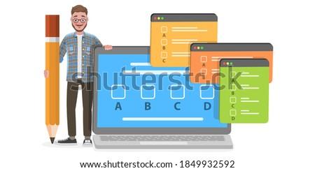 3D Isometric Flat Vector Conceptual Illustration of Online Exam, Questionnaire Form, Internet Quiz or Survey, Distant Education. Foto stock ©