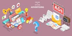 3D Isometric Flat Vector Conceptual Illustration of Online vs Offline Advertising, Social Media Campaig.