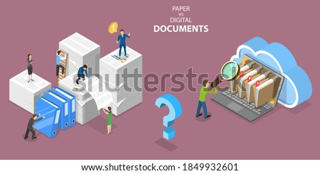 3D Isometric Flat Vector Conceptual Illustration of Paper VS Digital Documents, Pros and Cons.