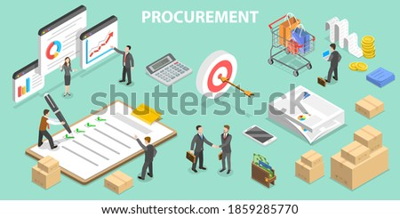 3D Isometric Flat Vector Conceptual Illustration of Procurement, Process of Finding and Agreeing to Terms, and Acquiring Goods, Services, or Works. Stockfoto ©