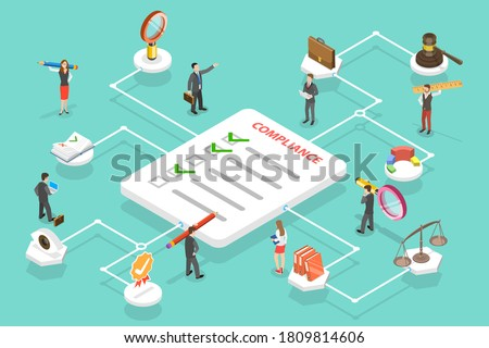 3D Isometric Flat Vector Conceptual Illustration of Regulatory Compliance, Steps That Are Needed to Be Complied With Relevant Laws, Policies and Regulations. Stock photo ©