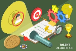 3D Isometric Flat Vector Conceptual Illustration of Talent Acquisition Process, Recruiting and Headhunting.