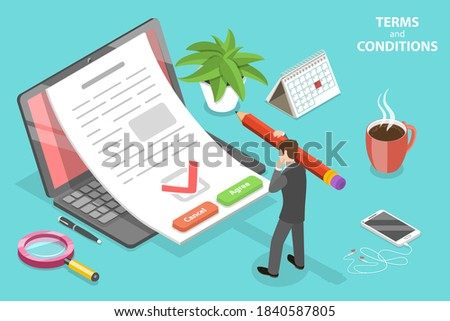 3D Isometric Flat Vector Conceptual Illustration of Terms and Conditions, Business Contract Review and Signing, Priviacy Policy. Foto stock ©