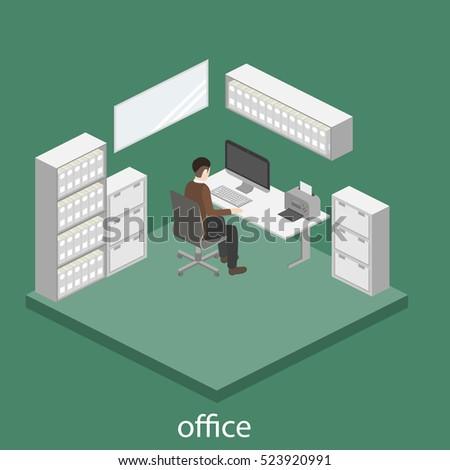 3D isometric interior design office. Department concept.