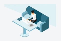 3d isometric man sitting on a sofa and working on Laptop.Work from Home  concept, man in isolation working from home, student or freelancer. Cute vector illustration in flat style