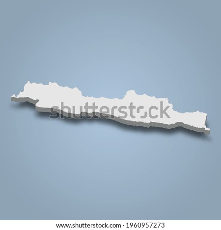3d isometric map of Java is an island in Indonesia, isolated vector illustration Foto stock ©