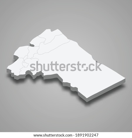 3d isometric map of Rif Dimashq is a province of Syria, vector illustration Stockfoto ©