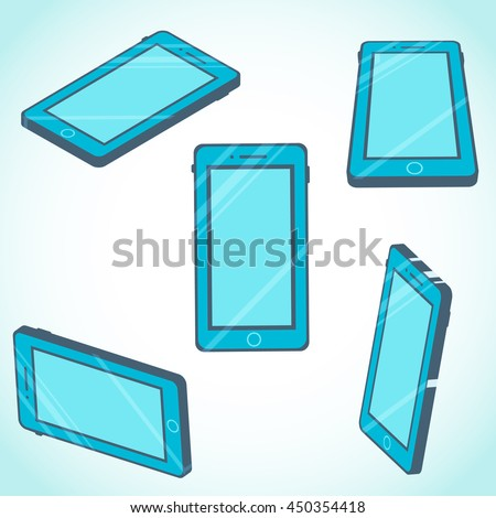 3d isometric mobile phone