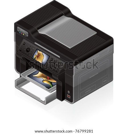 3D Isometric Office Color Photo InkJet Printer