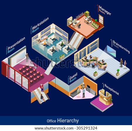 3d isometric office with