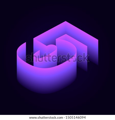 3d isometric pink purple