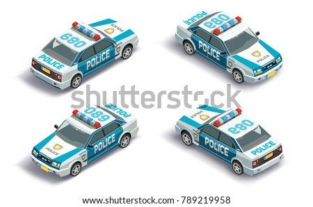 3D isometric police car with front and back view. Isolated vehicle.