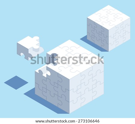 3d isometric puzzle cube with