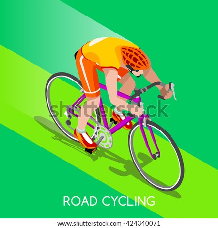 3d isometric road cycling