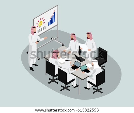 3D Isometric Saudi People character. Saudi businessmen discuss or present business plan to make business success. Cartoon of Arab people for web or infographic design in vector illustration
