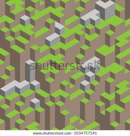 3d isometric seamless pattern