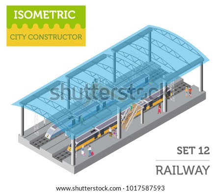 3d isometric Train station and city map constructor elements isolated on white. Build your own railway infographic collection. Vector illustration