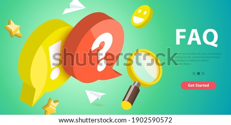 3D Isometric Vector Conceptual Illustration of FAQ - Frequently Asked Questions. Сток-фото ©