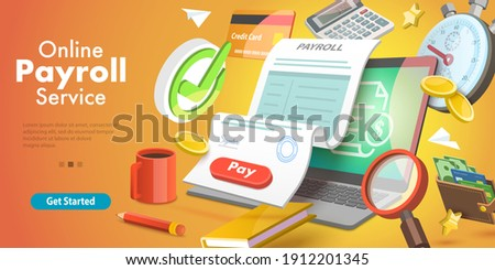 3D Isometric Vector Conceptual Illustration of Payroll or Salary Payment, Financial Calendar, Expenses Calculator.
