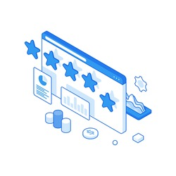 3d isometric vector illustration of web page with stars rating and charts and diagrams representing successful business solutions isolated on white background