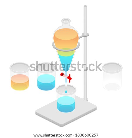 2.5D Isometric View Laboratory Separatory Funnel Set With Clamp & Stand, 2-Phase Liquid Chemical Solution Separation, Yellow Oil Phase And Water Phase Experiment And Beaker Vector Illustration Foto stock ©